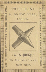 Advert for WS Hicks, American pencil & gold pen depot